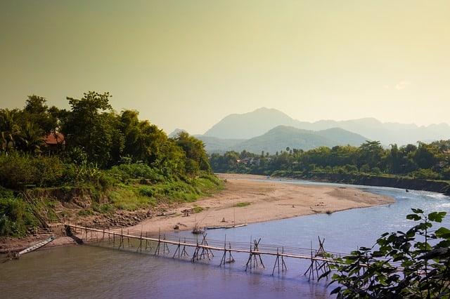 Bamboo Bridge Khan River Luang Prabang
