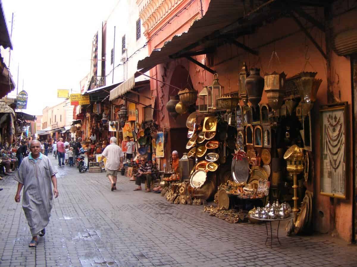 Stalls along the side of the walls in the medin in Marrakech