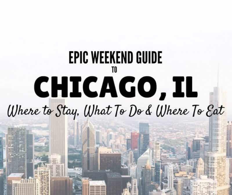 36 Hours in Chicago cover image showing the city skyline and lext overlay: Epic Weekend Guide to Chicago Il, Where to stay, what to do & where to eat!