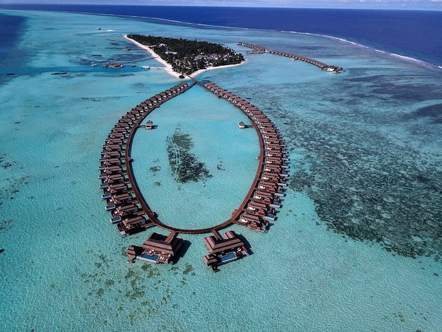 Aerial shot of the Pullman Maldives