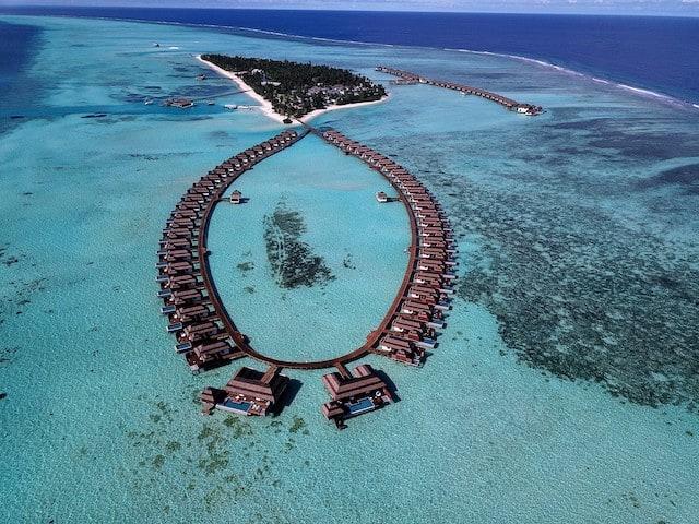 Aerial shot of the Pullman Maldives
