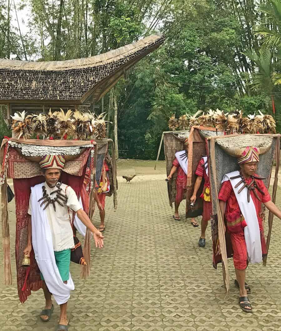 Torajan Men Performing the Manganda Dance