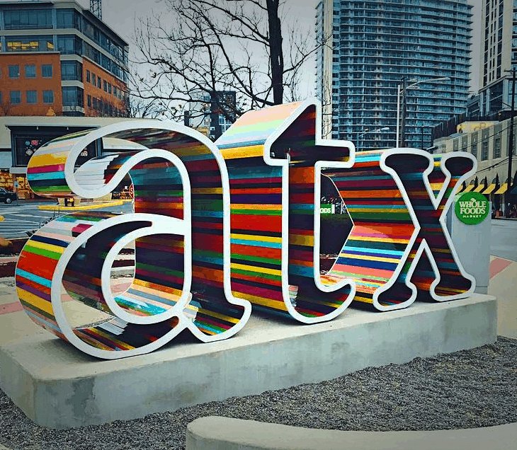 What to see in Austin - the ATX Sign outside the Whole Foods Market