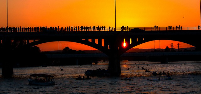 One of the best places to visit in austin tx is the Congress Bridge at Sunset