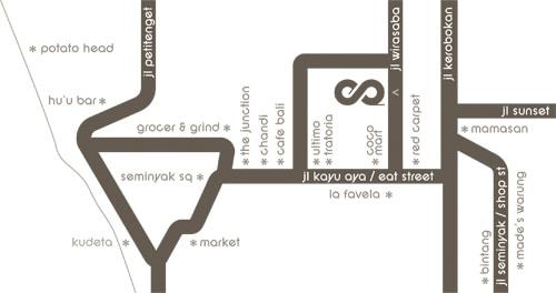 eqUILIBRIA Location Map - located on jalan wirasaba close to jalan kayu aya and jalan seminyak