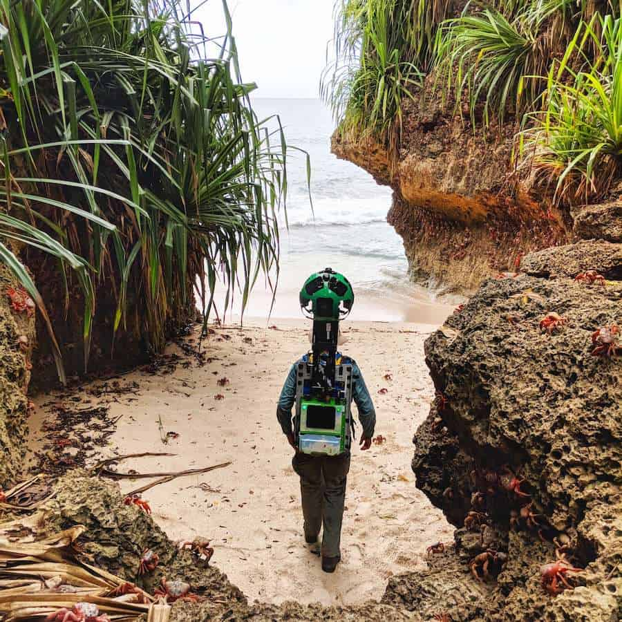 Google Street View Trekker on Merrial Beach Chirstmas Island