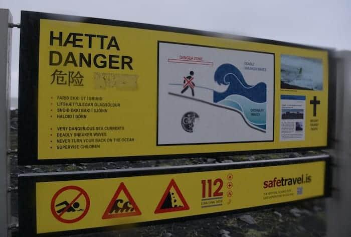 Sneaker Wave Sign Iceland