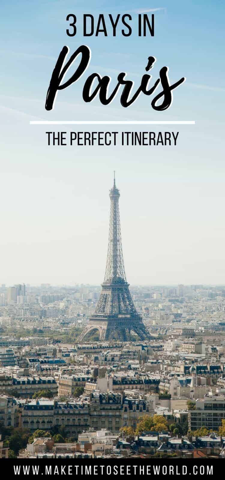 3 Days in Paris Pin - eiffel tower with text overlay