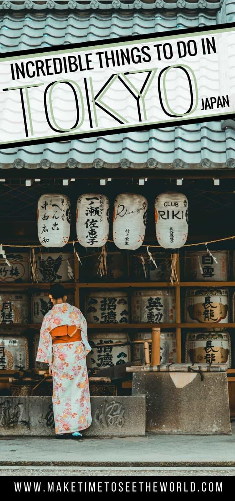 Things to do in Tokyo Japan lettering overlayed on an image of a geisha in front of a traditional lantern shop