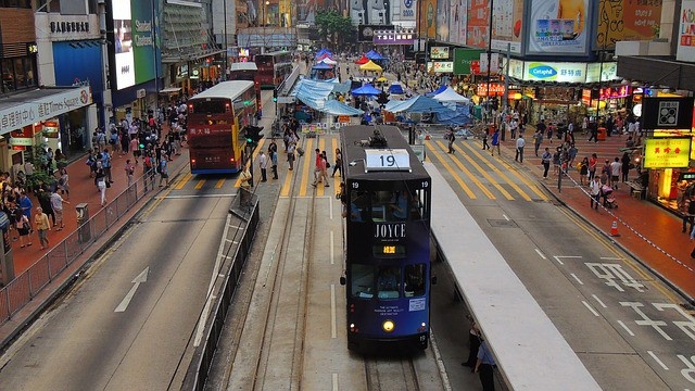 Causeway Bay Double Decker Tram in Honk Kong