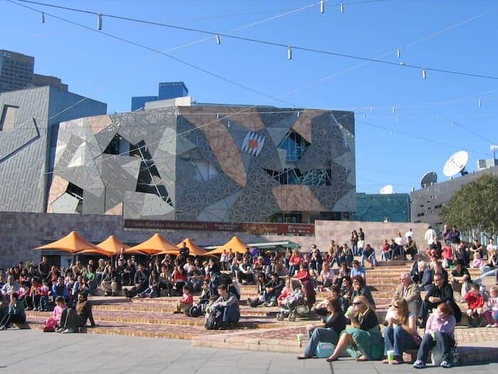 Federation Square in Melbourne's CBD on a sunny day