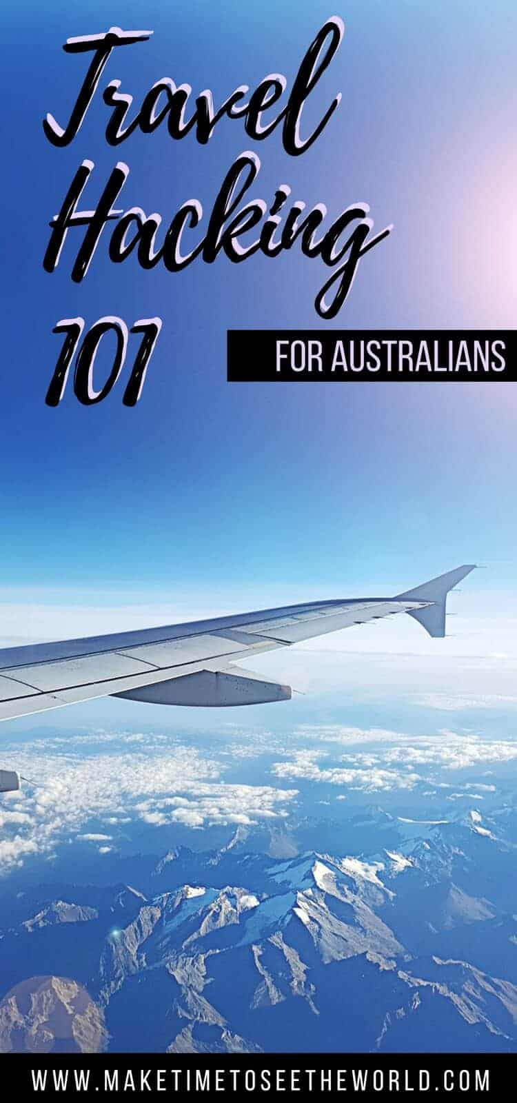 "Pin Image with ""travel Hacking 101"" text overlayed on out of the window plane image"