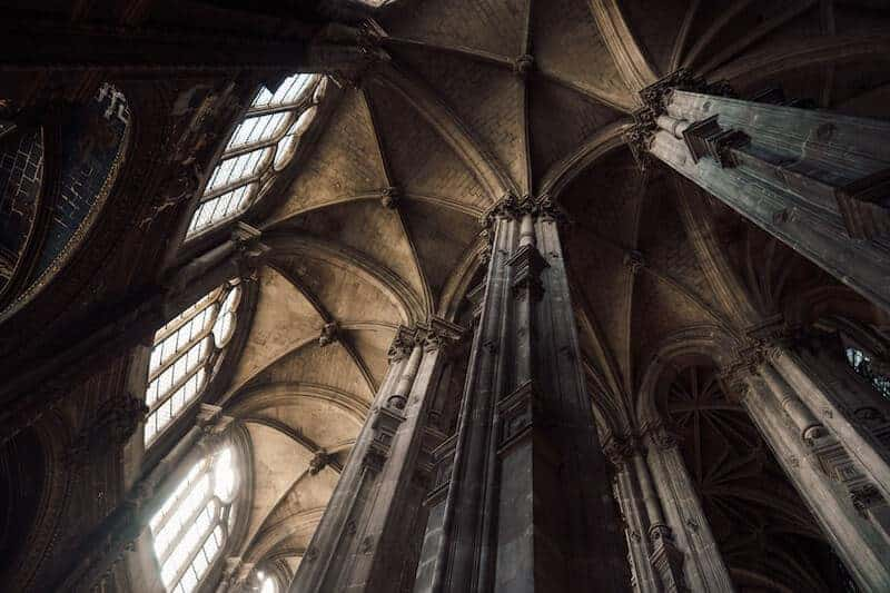 Looking upwards into the arches of a gothic church - Architecture Photography Tips