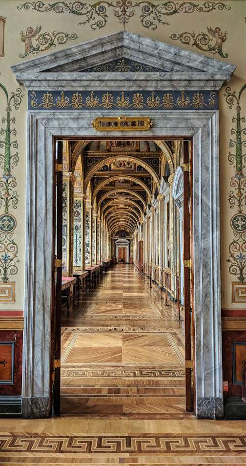 Looking into the Loggia Room in the Hermitage Museum