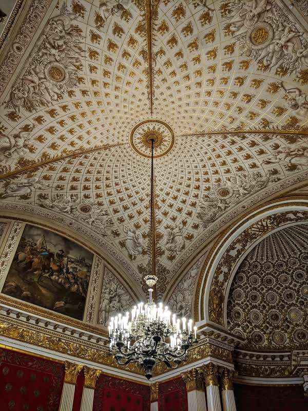The Small Throne Room Celing and Chandelier in the Hermitage Museum