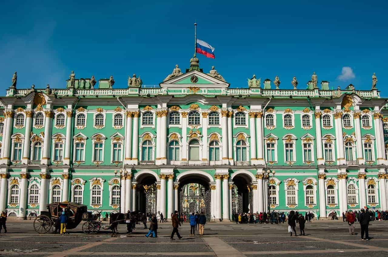 Green Facade of the State Hermitage Museum St Petersburg Russia