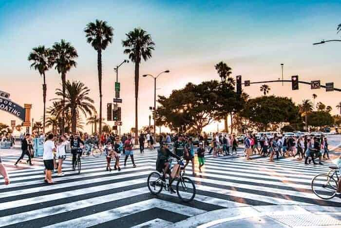 California Intersection Crossing with sunset