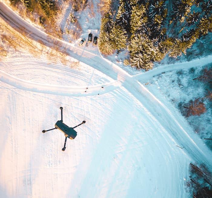 Drone above snowy scene