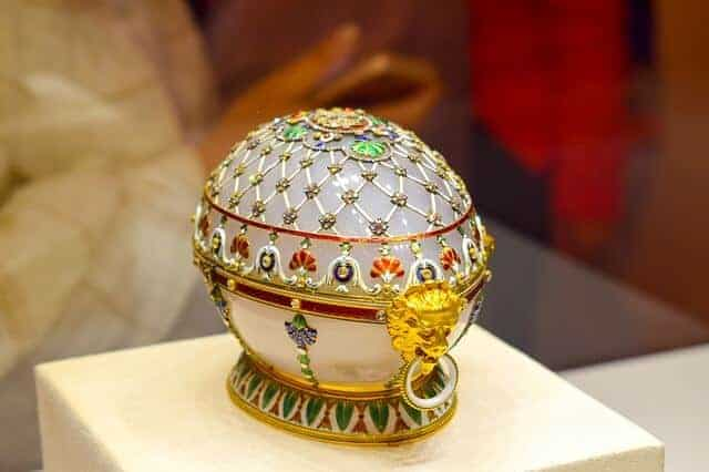 White Jeweled Faberge Egg