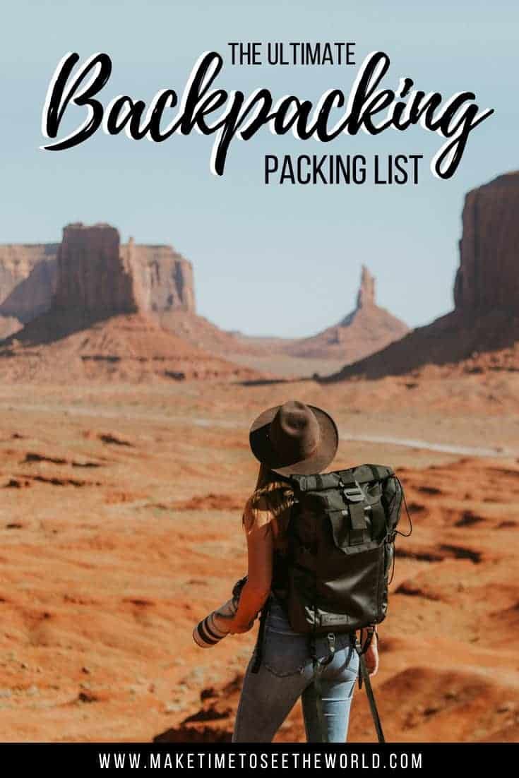 Backpacking Essentials Pin with Text Overlay and image of female backpacker looking out over Monument Valley
