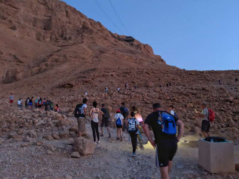 Groups climbing Masada for Sunrise