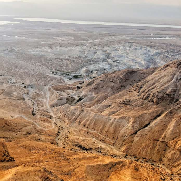 Looking down from the top of Mount Masada Israel