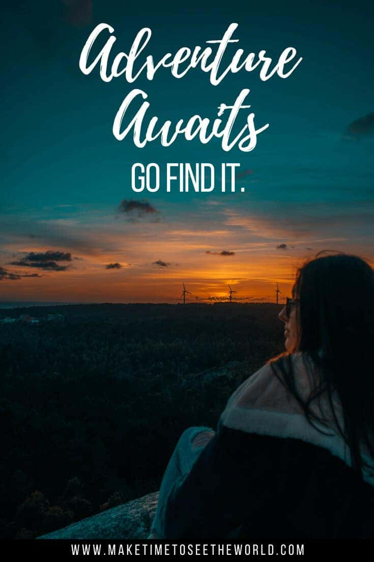 Adevnture Awaits. Go Find It - Adventure Quote pin image with woman looking out into a twilight sky and text overlay stating