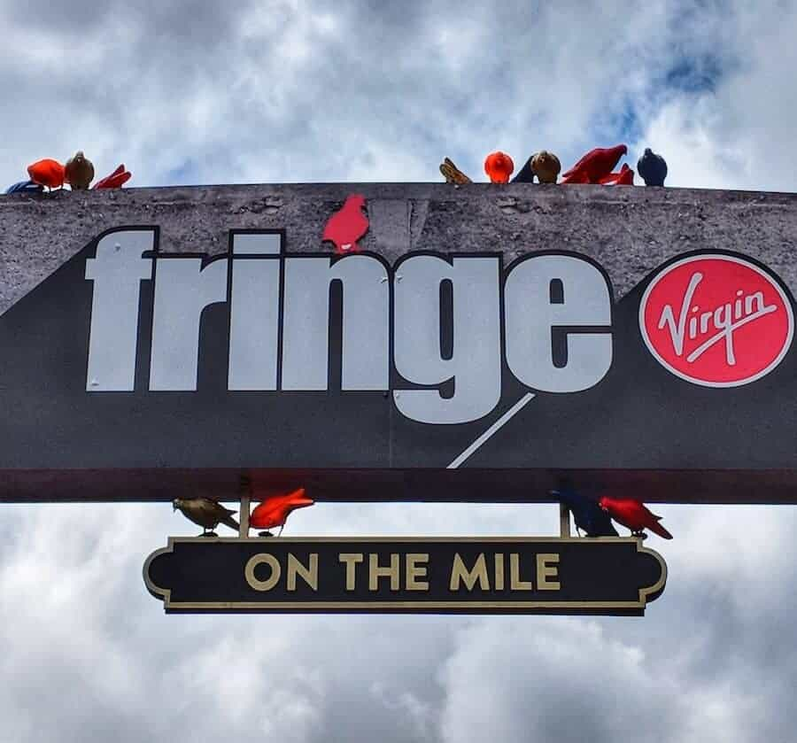 Fringe Sign above the Royal Mile in Edinburgh
