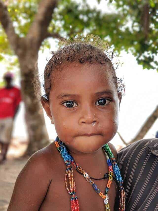 Crying Solomon Islands Child from Karomulun