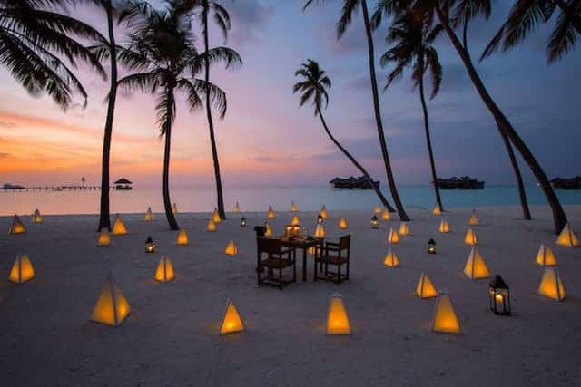 Private Dining on Palm Beach at Sunset