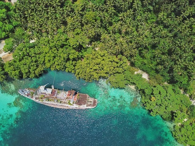 MS World Discovery Cruise Ship in Roderick Bay Solomon Islands