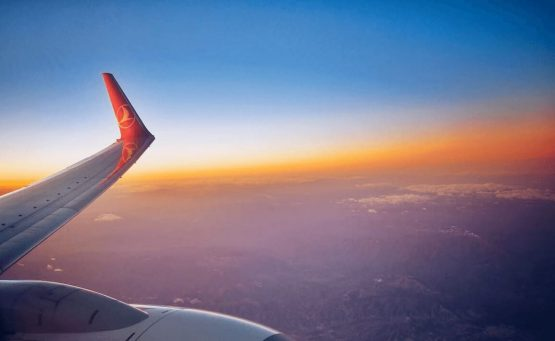 Turkish Airlines Business Class Review Image looking out of the window during golden hour