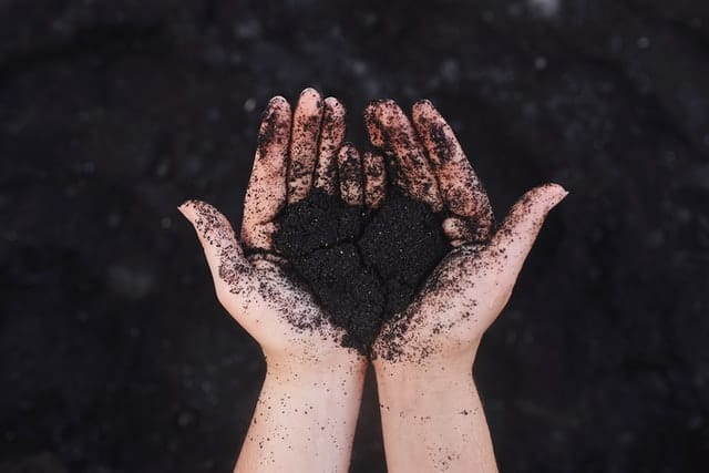 Hands holding back sand moulded into the shape pf a heart above a black sand beach