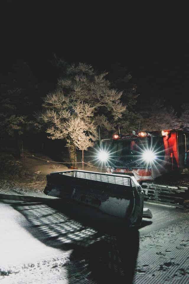 Zao Onsen at Night with a piste basher