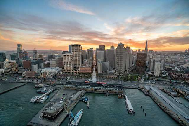 Aerial view of the Ferry Building and port in San Francisco