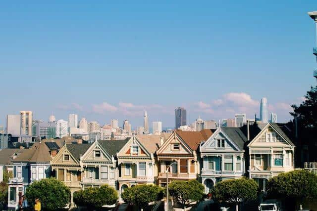View of Painted Ladies in San Francisco with the city in the background