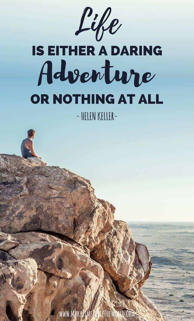 Adventure Travel Quote: Life is either a daring adventure or nothing at all pin image with woman crouched on a rock looking out into a national park