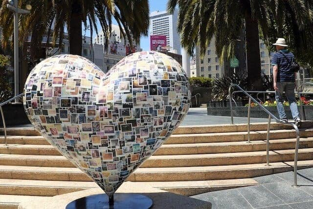 Heart Sculpture in the foreground of Union Square in San Francisco