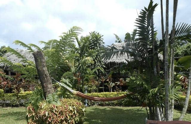 Gareden Fale surrounded by vegetation at Samoan Outrigger Hotel