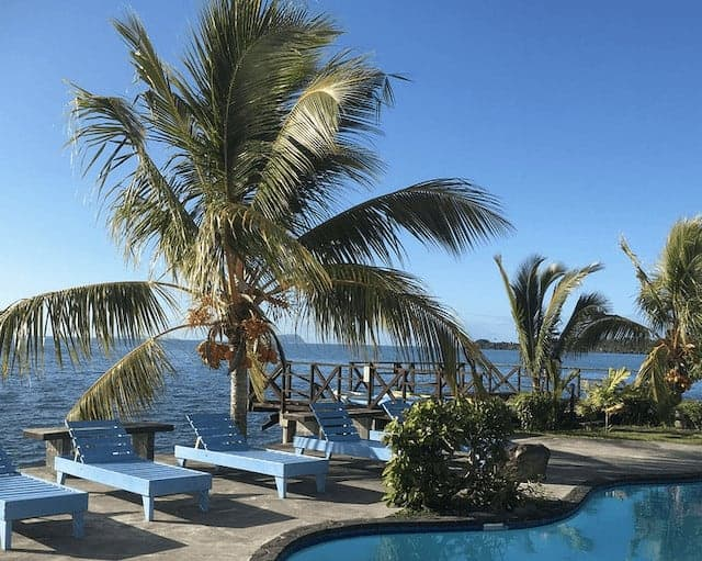 The Pool Area at The Savaiian Hotel surrounded by blue sunbeds and plam trees with the ocean in the background