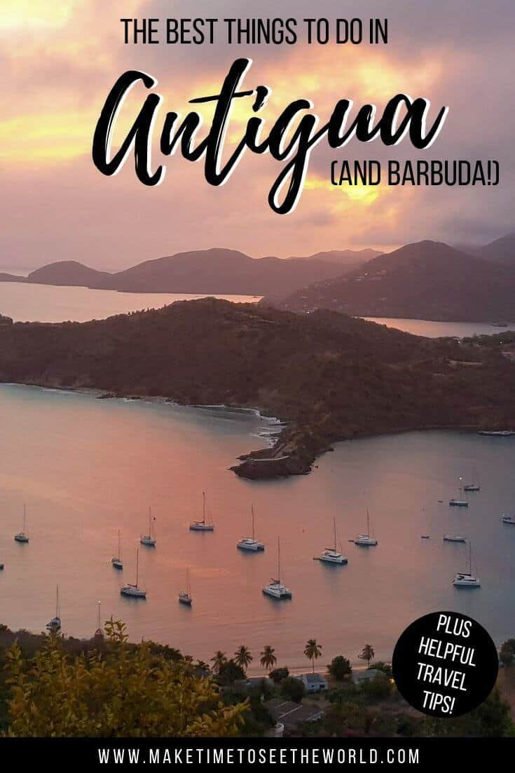 Top 20 Things to do in Antigua Pin image featuring a sunset from Shirley Heights overlooking English harbour