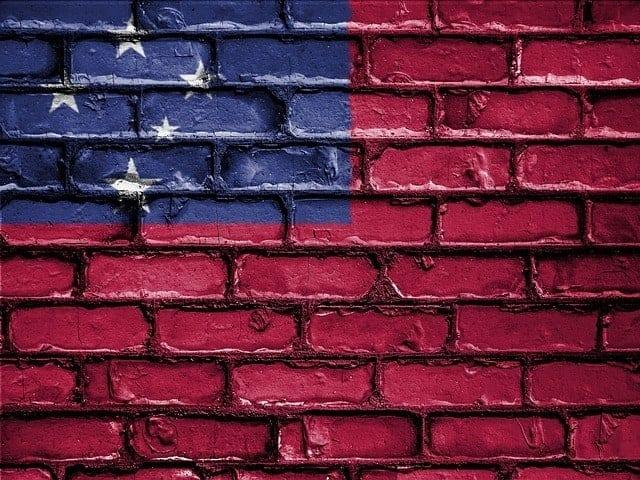 Samoan Flag painted on a brick wall