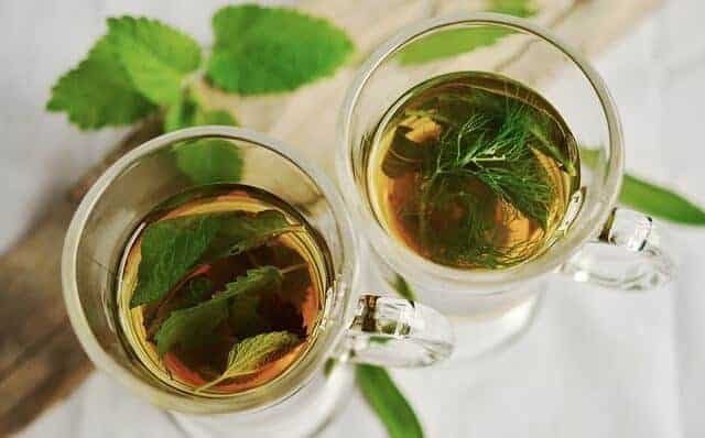 Two glasses of mint tea from above