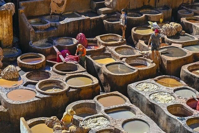 View looking down on the Tannery pits in Marrakech which are filled with different coloured dyes