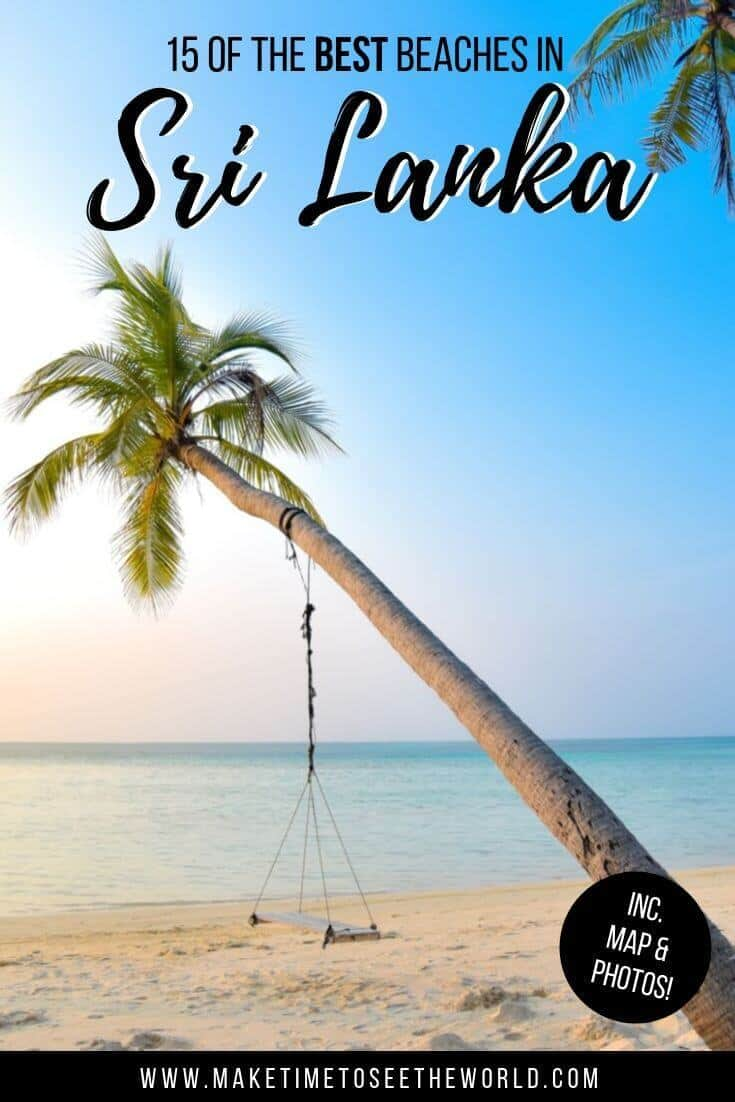 The Best Beaches in Sri Lanka text overlayed on an image of a single palm tree pointing towards a flat blue ocean with a swing underneath and sand at the bottom of the image. In the bottom right corner is a black circle with white text stating 'plus map and photos too!