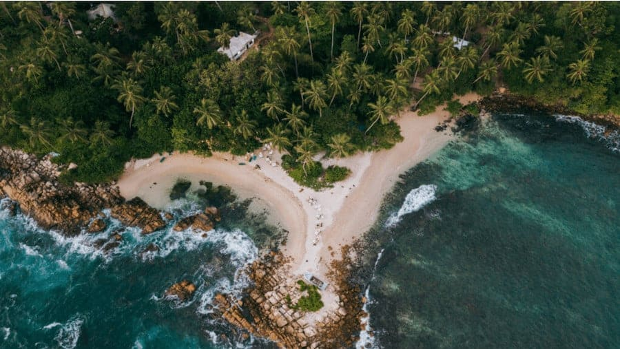 Drone shot of Secret Beach in Sri Lanka - showing a wall of palm trees at the top of the image; the middle is a beach that stretches out to a rocky outcrop which is front and centre, with waves crashing either side of the outcrop