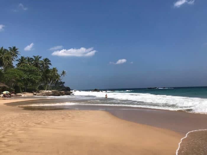 Empty beach at Tangalle in Sri Lanka