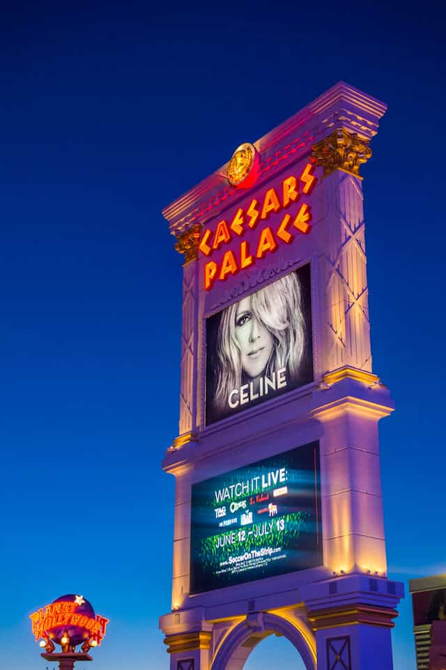 Billboard style sign from Caesars Palace