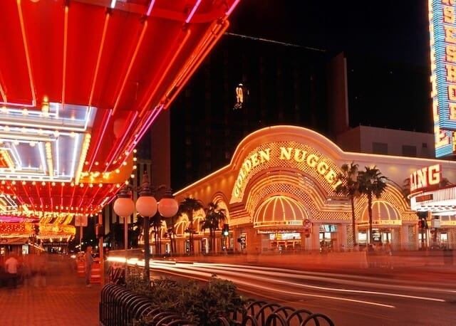 Facade of the Golden Nugget Hotel & Casino lit up at night