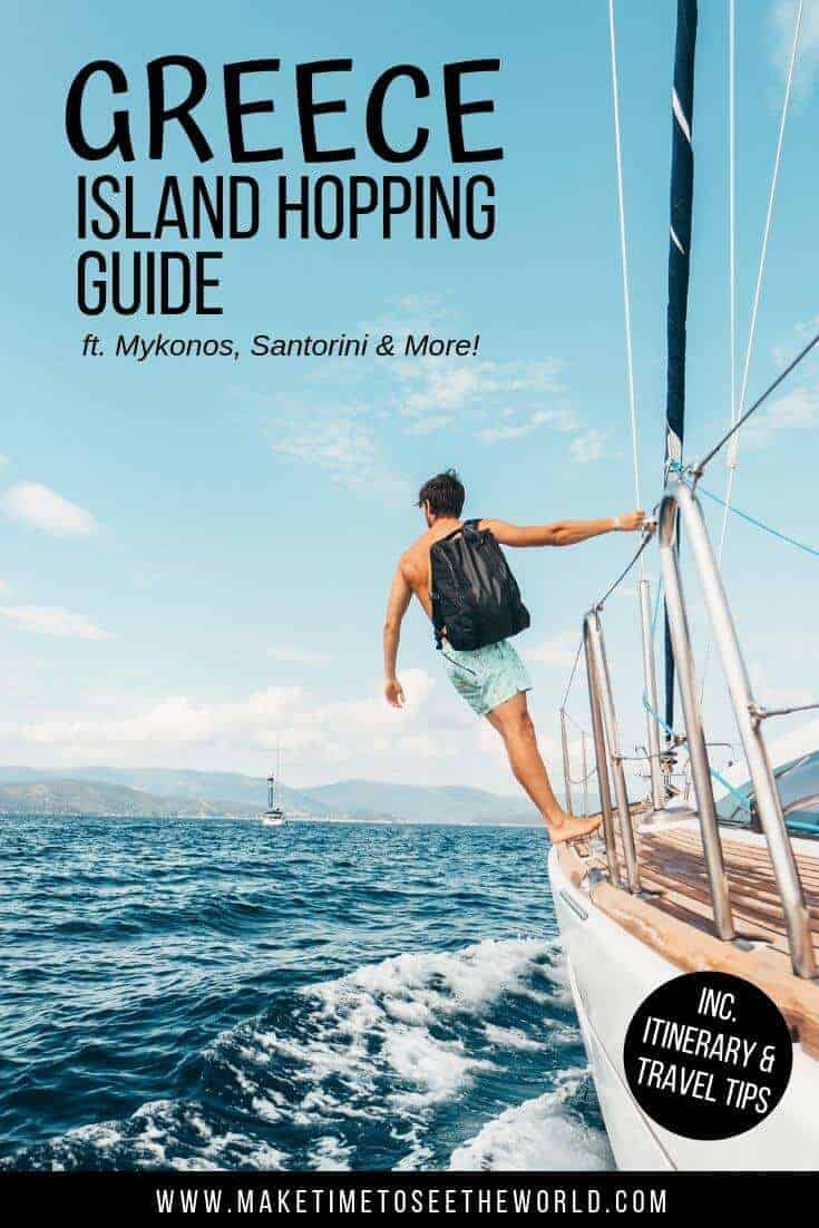 Pin image for Greek Island Hopping Guide with a topless man carrying a backpack and wearing shorts holding onto the rail of a sailboat while looking out to sea